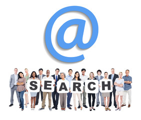 Group Of Business And Casual People Holding Letters Search