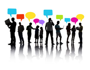 Silhouette Group of People Speech Bubbles Concept