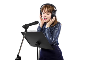 woman singing or reading a script for voice over