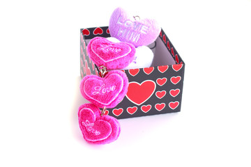 present box  and pink heart - Stock Image