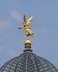 Angel statue on Dresden Academy of Arts dome, Saxony Germany