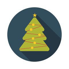 Flat Design Concept Christmas Tree Vector Illustration With Long
