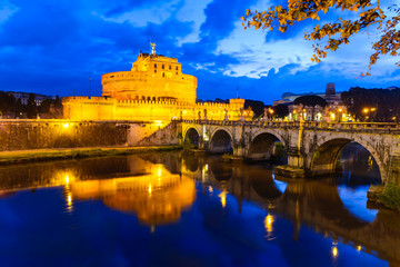 Castel Sant'Angelo, night in Rome