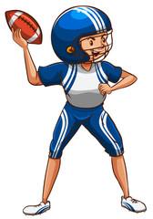 An American football player wearing a blue uniform