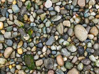 Background of Smooth Stones on the Seashore