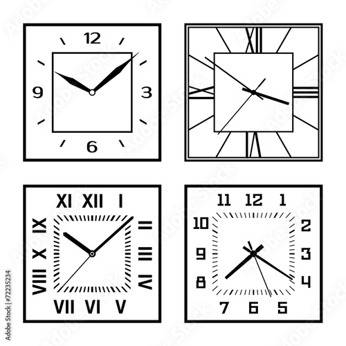 Set of different clock faces. Editable Clock. - 72235234
