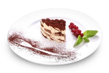 Tiramisu on a white plate.