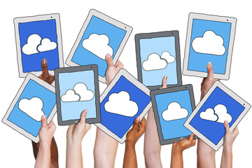 Hands Holding Digital Tablet with Cloud Computing Concept