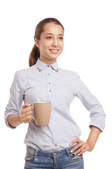 Business woman with cup isolated over white
