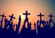Obrazy na płótnie, fototapety, zdjęcia, fotoobrazy drukowane : Hands Holding Cross Christianity Religion Faith Concept