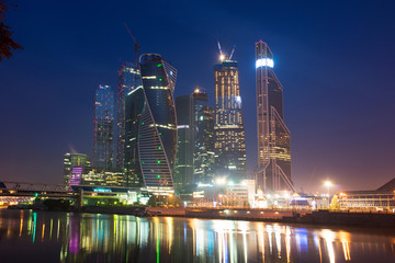 Moscow-city (Moscow International Business Center) at night, Rus