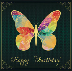 Birthday card with colorful butterfly