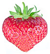One rich strawberry fruit in the form of heart.