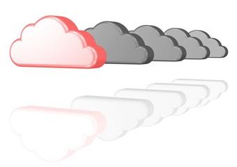 rosarote Wolke inmitten grauer Regenwolken - Optimismus