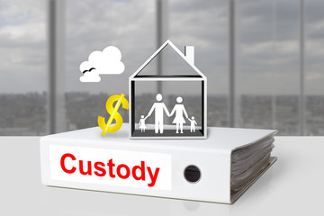 office binder custody family house dollar symbol