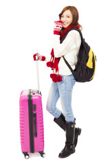 happy young beautiful woman holding a backpack and  baggage. tra