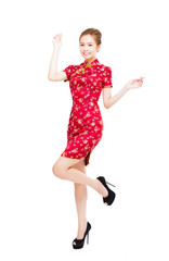 asian young woman  with cheongsam isolated on white background
