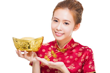 happy asian woman showing  gold for chinese new year