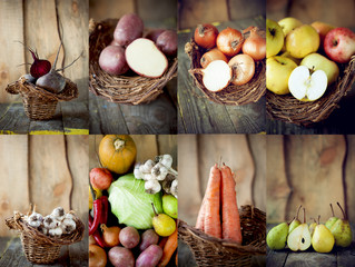 Autumn harvest. Collage of raw organic vegetables and fruit. Foo