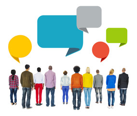 Multiethnic People Communication Speech Bubbles