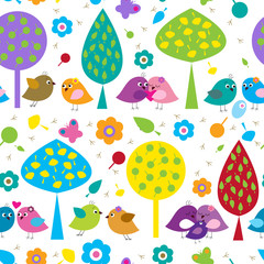 Bright seamless pattern with lovers birds