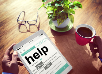 Digital Dictionary Help Charity Concepts