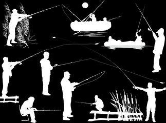 collection of white fishermen silhouettes isolated on black