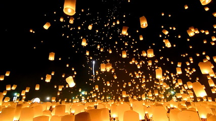 Sky Lanterns Floating In Loi Krathong Festival Of Thailand