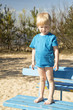Child in a blue shirt