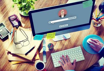 Businessman Log In Computer Password Concept