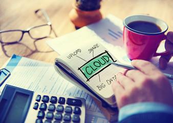 Businessman Writing Cloud Share Big data Upload