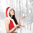 sexy santa girl, christmas, with snowflakes on background