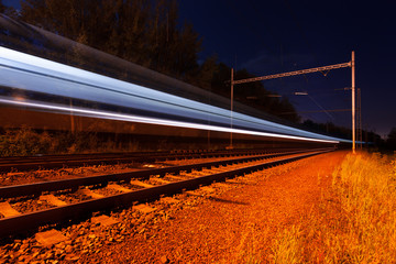 lights moving train