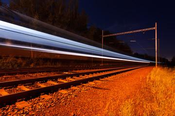 lights moving train