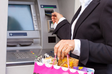 Using debit card for taking money from ATM