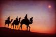Leinwandbild Motiv Three Kings Desert Star of Bethlehem Nativity