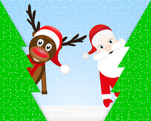 Christmas reindeer and Santa Claus in forest