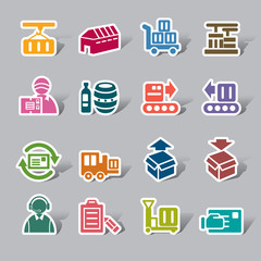 Logistics and Transport Color Icon Label