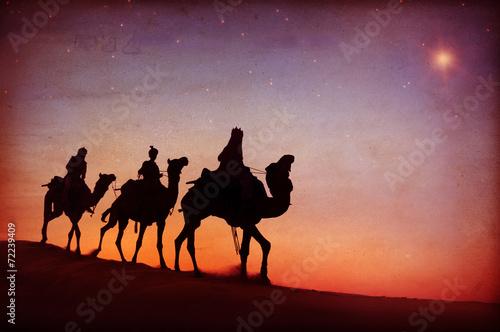 Leinwanddruck Bild Three Kings Desert Star of Bethlehem Nativity