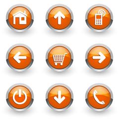 orange web vector icons set