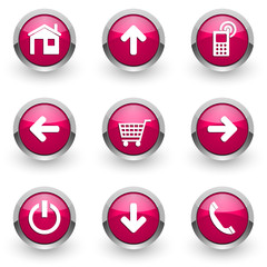 pink web vector icons set
