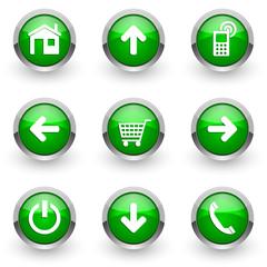 green vector icons set
