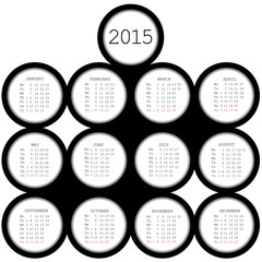 2015 black circles calendar for office