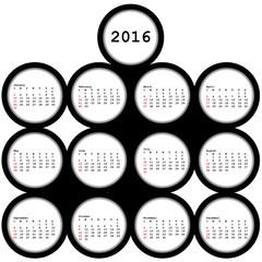 2016 black circles calendar for office