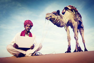 Indian Man Using Laptop Desert Concepts