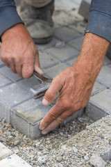 laying concrete brick pavers 3