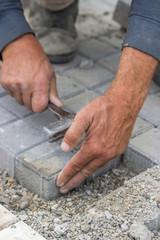 laying concrete brick pavers 3