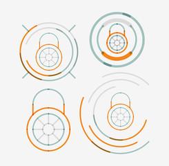 Thin line neat design logo set, lock concepts