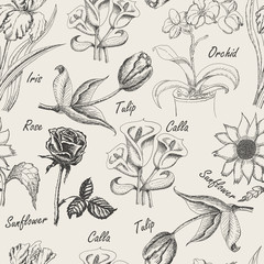 Hand drawing seamless patern of flowers