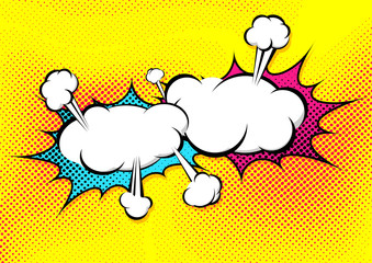 Speech explosion bubble collision pop-art style